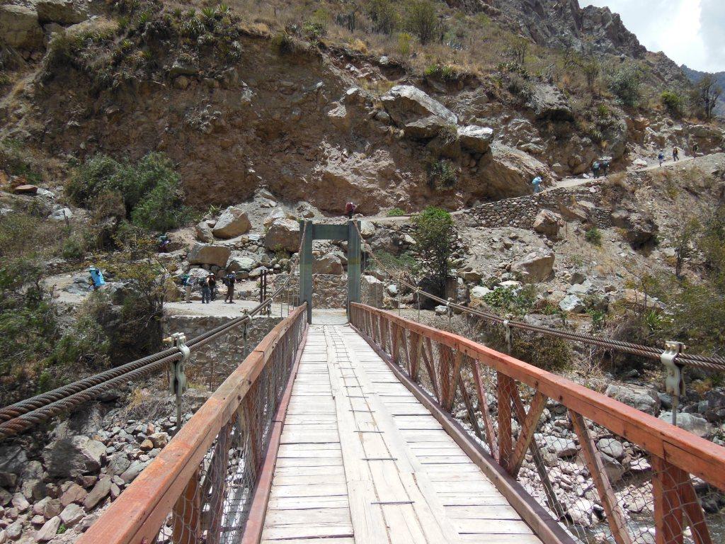 The Bridge entering the Camino Inca over the Urabamba River