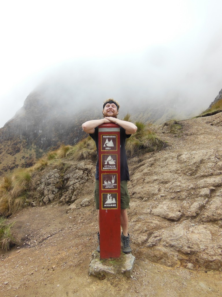 The top of Dead Woman's pass on the Inca Trail. The happiness on my face is evident  as I fulfill this lifelong dream.