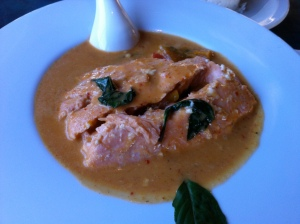 Salmon pumpkin curry